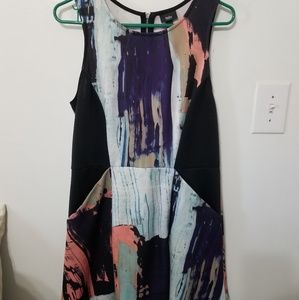 Marble printed dress stretchy